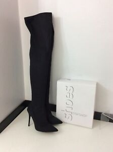 Uk Topshop Stretch Thigh 7 Boots Black 40 High Boxed Skinny Vgc Size rqr78U