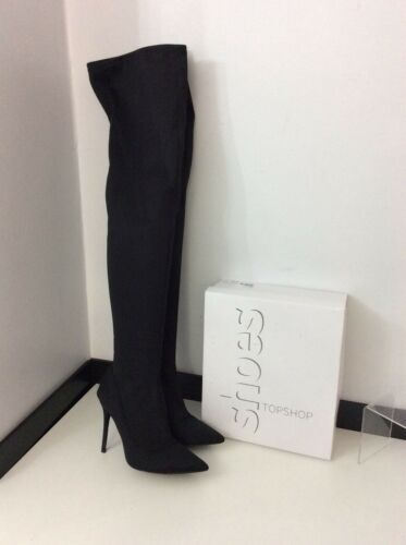 Uk Topshop Stretch Thigh 7 Boots Black 40 High Boxed Skinny Vgc Size rqr78U