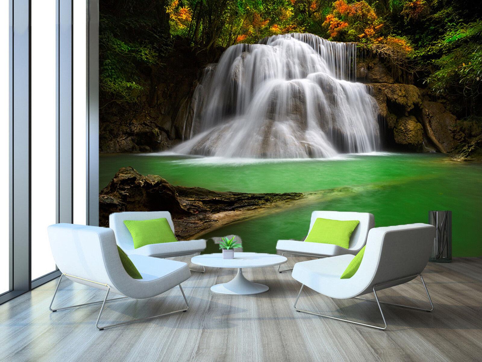 3D Cascade River Fototapeten Wandbild Fototapete Bild Tapete Familie Kinder887