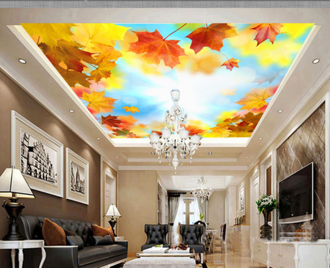 3D Sunshine Maple Leaf 893 Wall Paper Wall Print Decal Wall Deco AJ WALLPAPER