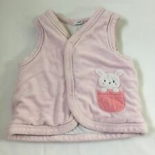 Pink bunny rabbit fleece body warmer gilet top  Baby girls clothes 12-18 Months