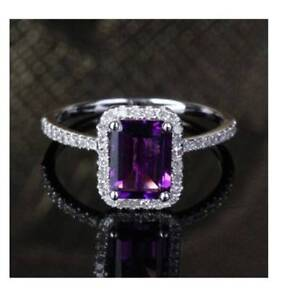 3Ct-Emerald-Cut-Amethyst-Synt-Diamond-Halo-Engagement-Ring-White-Gold-Fns-Silver