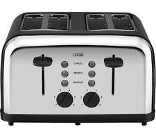 LOGIK L04TBK14 4-slice Toaster Black & Silver Defrost function Extra-wide slots