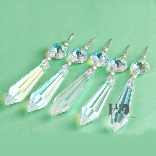 Crystal Hanging Ornament Glass Lamp Prisms Pendant Colorful Suncatcher 55mm 10x