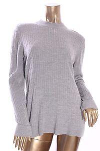 KAREN-SCOTT-Womens-New-46-Gray-Mock-Neck-Long-Sleeve-Knit-Sweater-Size-M