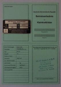 ABE-Schwalbe-Kr-51-51-1-51-S-K-Betriebserlaubnis-SIMSON-KEIN-Typenschild-DDr