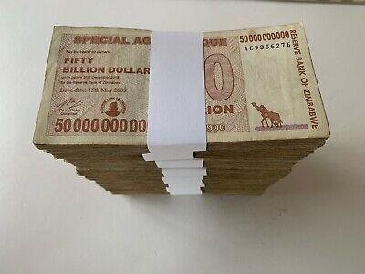 100 x 25 Billion Zimbabwe Dollars Agro Cheque 2008 Bundle 100PCS Circulated