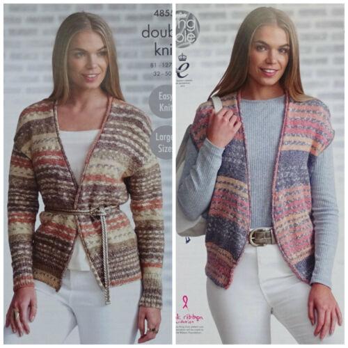 Knitting Pattern femmes Easy Knit Piped Edge Cardigan /& gilet DK 4855