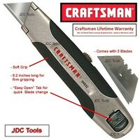 Craftsman 6.2-inch Utility Knife With Soft Grip Includes 3 Blades -