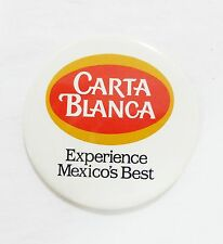 Carta blanca beer experience mexicos best advertising pinback button