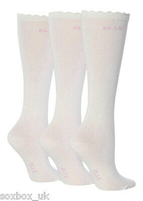 3 Pairs Girls Elle Over The Knee Socks White Size 9-12 Uk 27-30.5 Eur