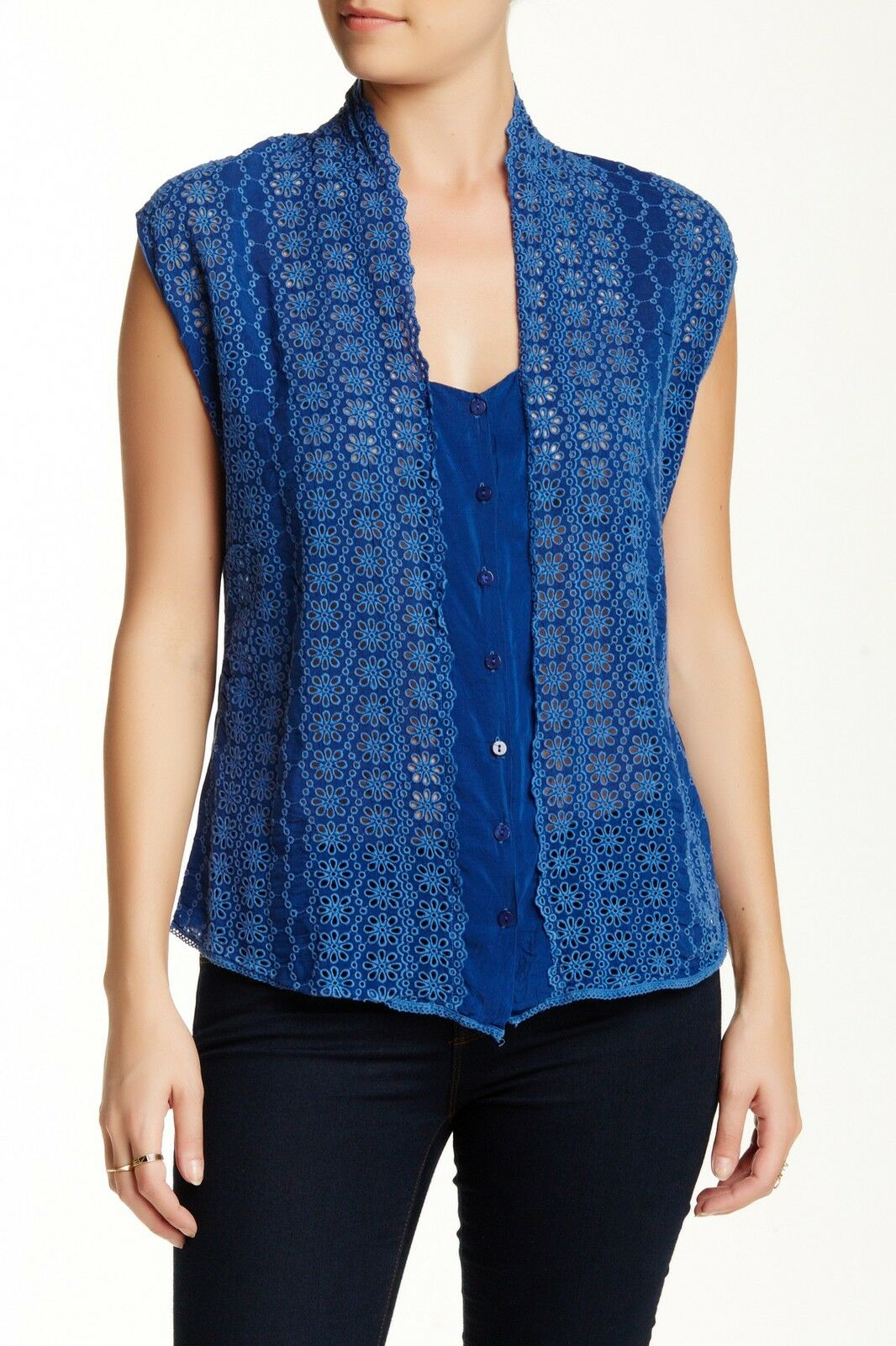 NWT Johnny Was Large Eyelet Vest in Blau Floral Embroiderot Sheer Top S