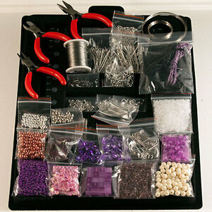 Bastelpaket-schmuckbastelset-bastelset-Schmuck-machen-Perlen-Basteln-zangen-Lila