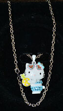 NWT Blue Hello Kitty Pineapple Rhodium Plated Necklace