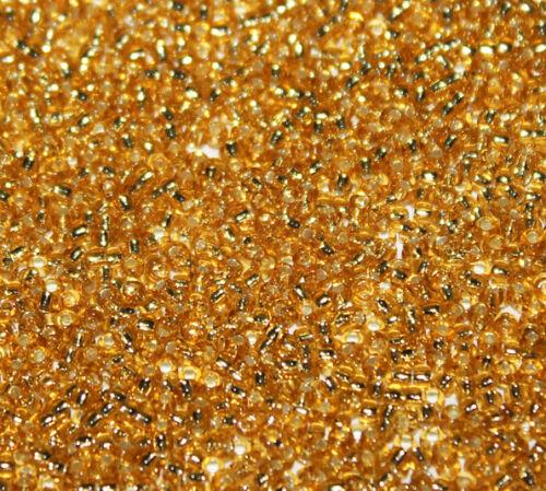 100g oro 11//0 granos de plata forrado Preciosa Checo Semilla Cuentas 2mm A Granel Comprar