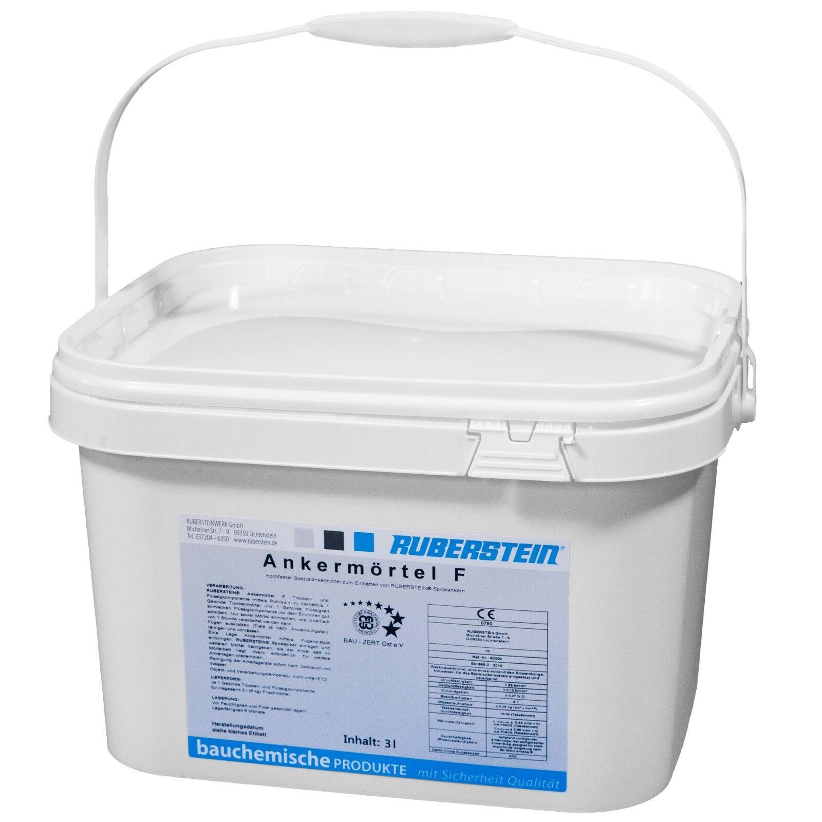 Ruberstein® Ankermörtel hochfest 2K, 2 Eimer á 6 kg reichen für 10 m Spiralanker