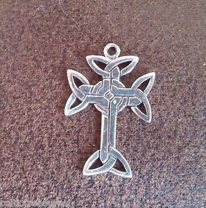 .925 Sterling silver Celtic Iona Cross pendant w/ Trinity Knot, Irish, Scottish