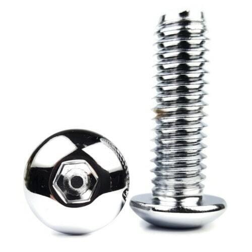 #10-32Chrome Plated Steel Button Head Socket Cap Screws All Lengths /& Qtys