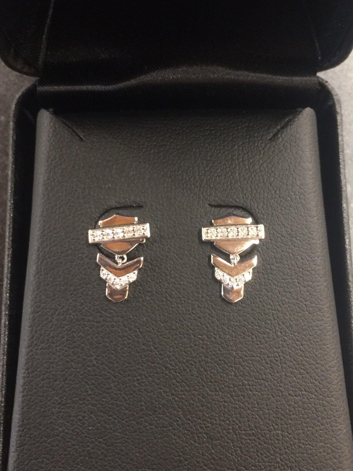 Harley-Davidson Women's Embellished Chevron Drop Post Earrings HDE0460