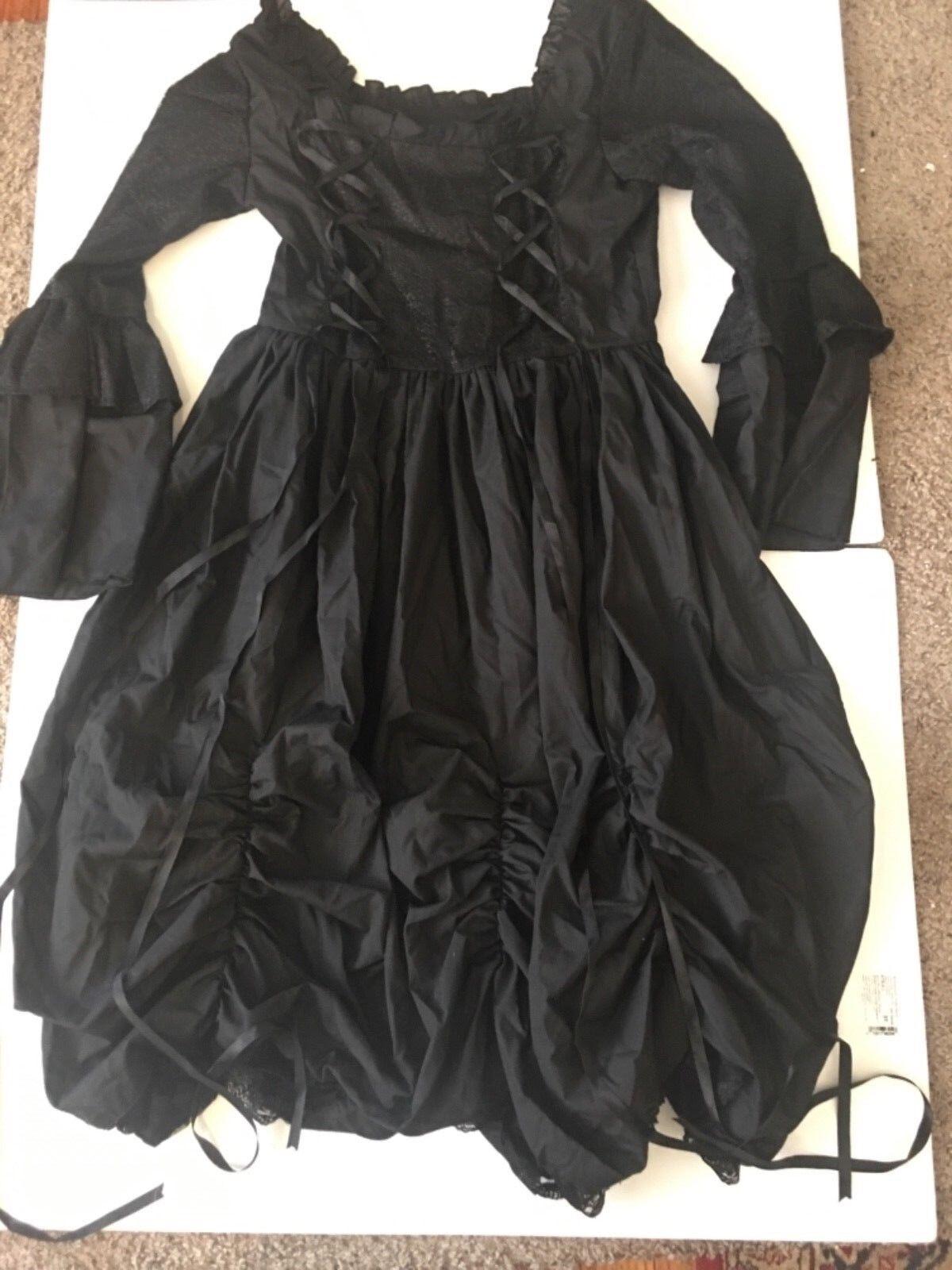 schwarz Victorian Goth Lolita Punk Steampunk Bustle Full Skirt Dress MEDIUM