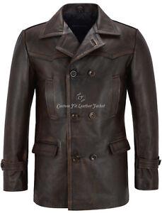 Giacca vera Cappotto da pelle in Ww2 Vintage di vacchetta uomo Who ispirato Dr ww5qZgr