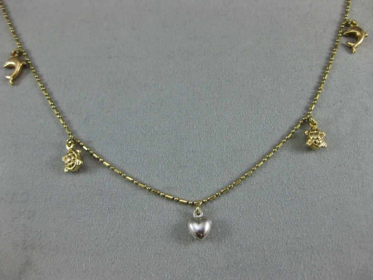 ESTATE 14K WHITE YELLOW gold 5 CHARM BRACELET DOLPHIN TURTLE HEART 10  L1336.204