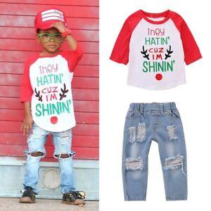 02dabf46a6e 2PCS Toddler Baby Kids Boys Outfits T-shirt Tops+Hole Denim Pants ...