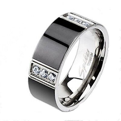 Solid Titanium Wedding Engagement Bridal Band Black IP 3 CZ Stripe Accented Ring