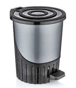 Image Is Loading Medium Grey Pedal Bin Round Dustbin Bathroom Litter