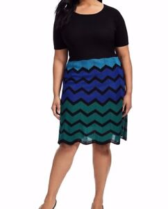 493741b55c Gabby Skye Stretch Knit Chevron Sweater Dress In Blue And Green Size ...