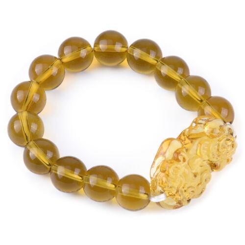 Für Reichtum Glück 12mm Gelb Kristall Citrin Perlen Armband mit Pi Xiu Charm