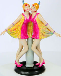 Porcelaine-Figurine-039-The-Dolly-Sisters-039-Jumeaux-Weltberuhmt-Tanz-Duo