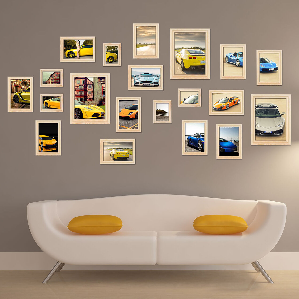 En bois 20 pcs Mural Cadres Photo Décoration Maison d'affichage collages Set