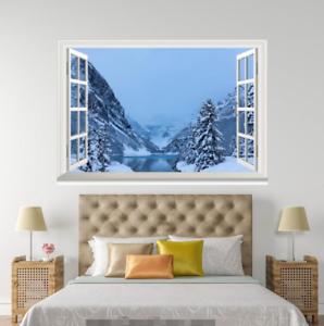 3D Snow Mount River 0018 Open Windows WallPaper Murals Wall Print AJ Jenny