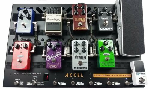 Accel FX22 Command Center Switcher Pedal board,17 Cables /& Tote Bundle1