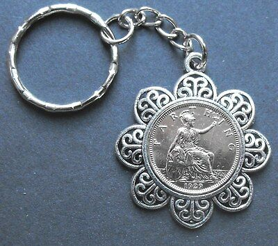 1929 90th birthday King George V Britannia Farthing Charm keyring free gift box
