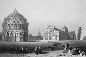 ITALY-Pisa-Leaning-Tower-amp-Baptistry-155-Years-Old-Antique-Print-Engraving