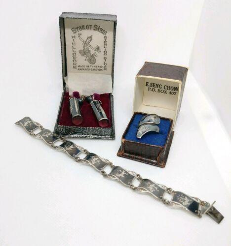 Star of Siam Nielloware Vintage screw-on Earrings,