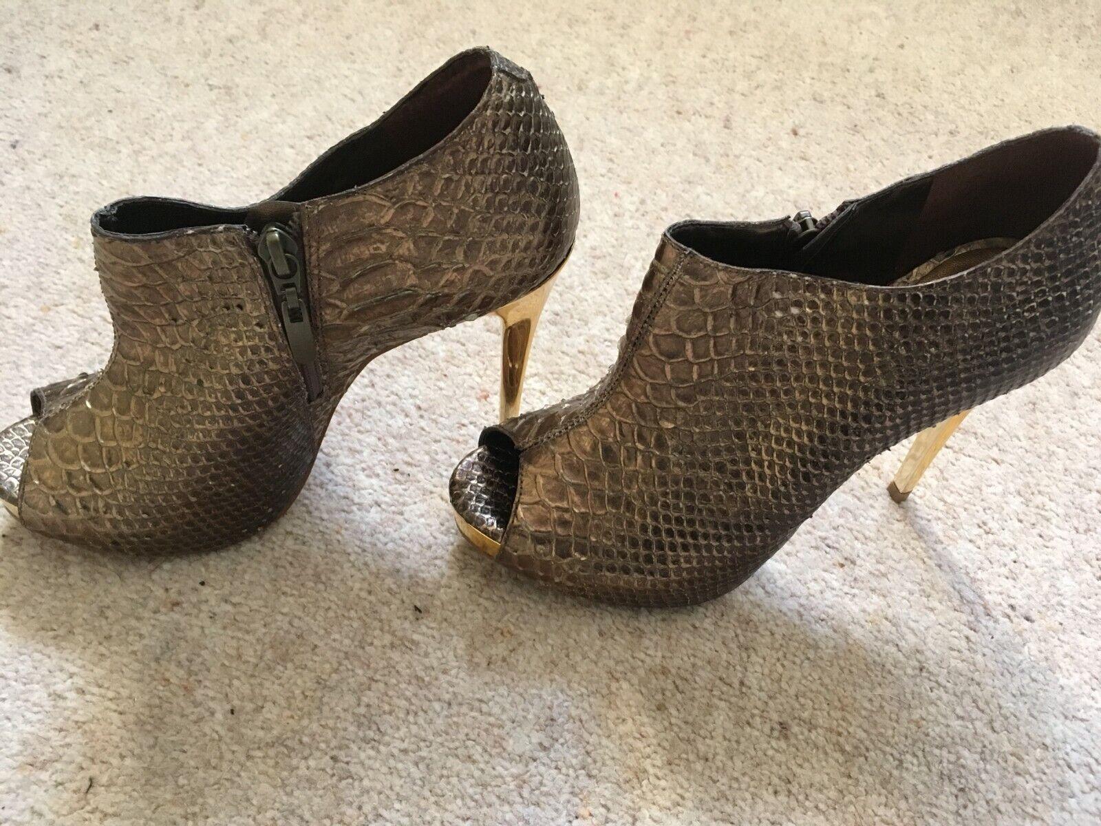 Dune Bronzo e oro stivaletti in pelle scarpe con tacco a spillo 4 (37) NUOVO CON ETICHETTA