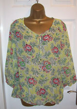 LADIES WALLIS TOP SIZE Large 16-18, Pretty yellow chiffon floral blouse Tunic