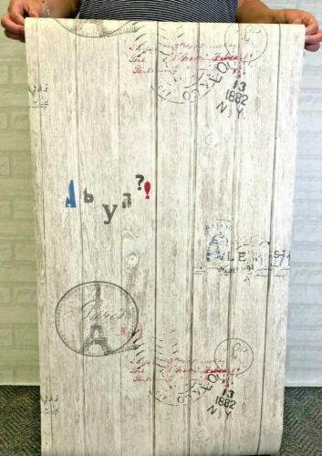 3D PARIS SHABBY CHIC WORN GREY WORN WOOD WALLPAPER NATURAL FABLON VINTAGE STAMPS