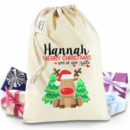 Personalised Merry Christmas Rudolph Christmas Sack Present Bag Santa Mail Post