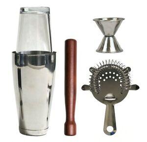 professional bartender kit bar set cocktail shaker tools steel 5 stainless pcs ebay. Black Bedroom Furniture Sets. Home Design Ideas