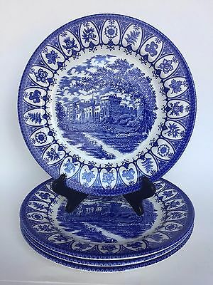 Churchill Blue Heritage Pattern Set of Four Dinner Plates English Pottery