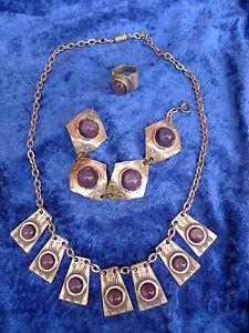 Pretty-Old-Jewelry-Set-Tin-Danmark-Pewter-Denmark-Handmade