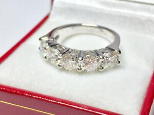 2.60 Ct Round Genuine Moissanite Eternity Band 14K White Gold Engagement Ring