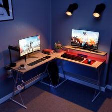 55 L Shaped Gaming Desk Pc Laptop Computer Table Home Led Corner Workstation