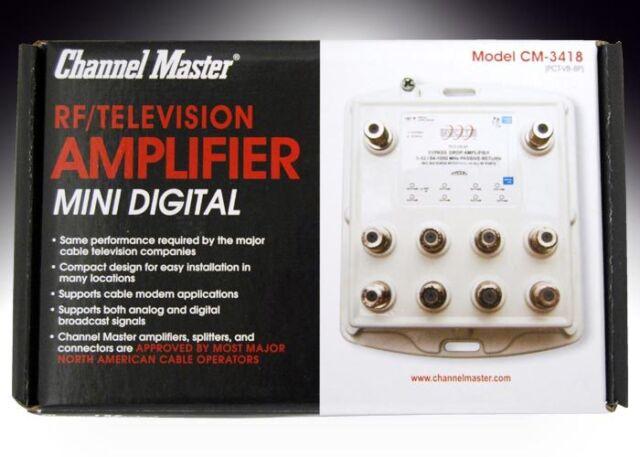 8 Port Distribution Amplifier Antenna & Cable TV Signal Booster Splitter CM-3418