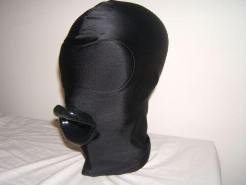 Noir Spandex Gimp Masque Sans Yeux et latex sissy lèvres en rouge noir ou rose Taille M