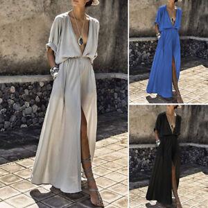 Women-Maxi-Sundress-Beach-Boho-Summer-V-neck-Sexy-Backless-Evening-Party-Dress